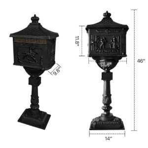 Best Locking Mailbox Options: Polar Aurora Mailbox Cast Aluminum Black Mail Box