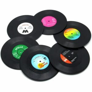 The Best Coasters Option: DuoMuo Vinyl Record Disk Coasters
