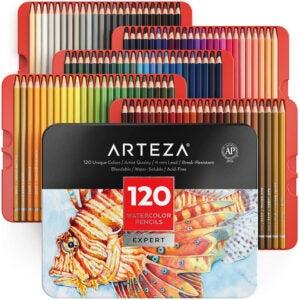 最好的彩色铅笔选择:Arteza专业水彩铅笔,套120