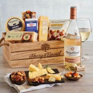 最好的礼品篮选项:哈里和大卫美食奶酪礼品用葡萄酒