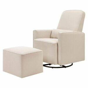 The Best Rocking Chair Option: DaVinci Olive Upholstered Swivel Glider with Ottoman