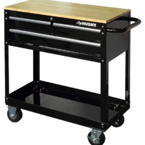 The Best Rolling Tool Box Option: Husky 36 in. 3-Drawer Rolling Tool Cart with Wood Top