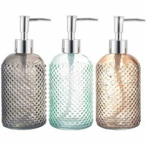 The Best Soap Dispenser Option: Cutiset 3 Pack Assorted Glass 15 Ounce Dispenser