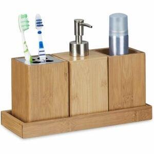 The Best Soap Dispenser Option: Relaxdays Bath Accessory 4-Piece Set, Bamboo