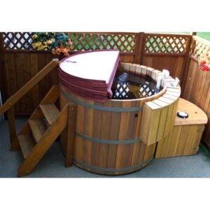 Meilleure option de bain à remous: baignoire double en bois avec lumières du nord pour 4 personnes