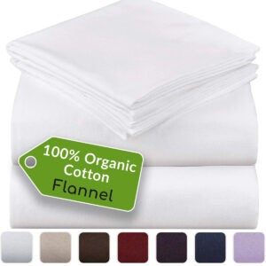 Best Flannel Sheets Options: Mellanni 100% Organic Cotton Flannel Sheet Set
