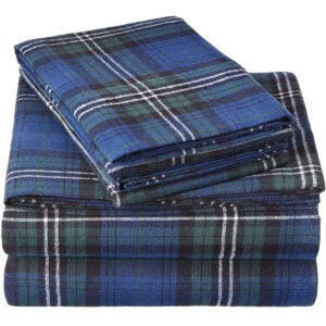 Best Flannel Sheets Options: Pinzon Plaid Flannel Bed Sheet Set