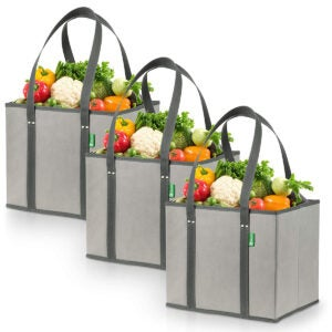 Best Reusable Grocery Bags Options: Reusable Grocery Shopping Box Bags (3 Pack - Gray)