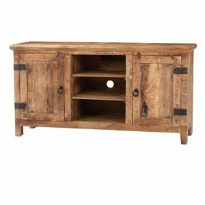 The Home Depot Black Friday Option: Holbrook 58 in. Natural Reclaimed Wood TV Stand with Storage Doors