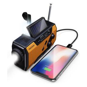 The Best Camping Gadgets Option: FosPower Emergency Solar Hand Crank Portable Radio