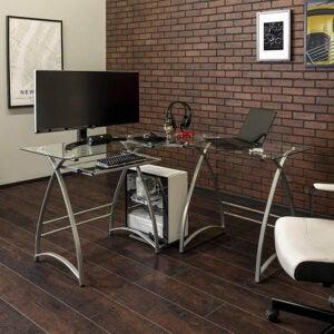 The Best L-Shaped Desk Option: Walker Edison Modern Corner L Shaped Glass Desk
