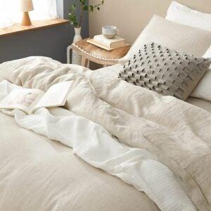 最好的羽绒被覆盖选项: DAPU Pure Linen Duvet Cover