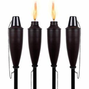 The Best Tiki Torch Option: BIRDROCK HOME 4 Pack Outdoor Garden Torches