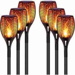 The Best Tiki Torch Option: DIKAIDA 6PCs Solar Torch Lights