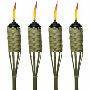 The Best Tiki Torch Option: TIKI Brand 57-Inch Luau Bamboo Torches - 4 pack