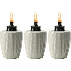 The Best Tiki Torch Option: TIKI Brand Herringbone White Glass Tabletop Torch