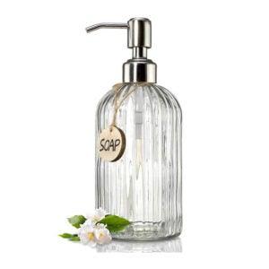 The Best Dish Soap Dispenser Option: JASAI 18 oz Clear Glass Soap Dispenser