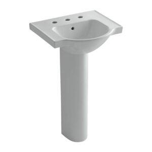 The Best Pedestal Sink Option: KOHLER Veer Ceramic Pedestal Sink with Overflow
