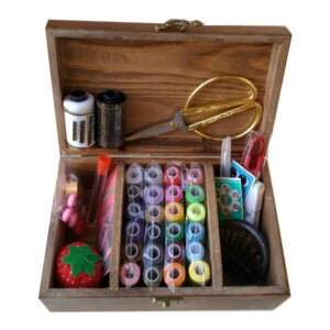 The Best Sewing Kit Option: Wooden Sewing Basket with Sewing Kit Accessories