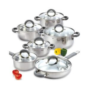 The Best Stainless-Steel Cookware Option: Cook N Home Stainless Steel 12-Piece Cookware Set