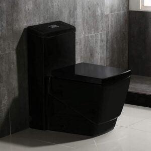 最好的厕所选项:Woodbridge双冲洗一件马桶方形黑色