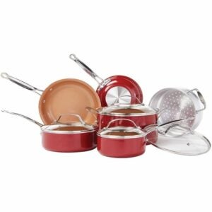 The Best Copper Cookware Option: BulbHead Red Copper 10 PC Copper-Infused Ceramic