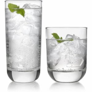 The Best Drinking Glasses Option: Libbey Polaris 16-Piece Tumbler and Rocks Glass Set