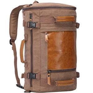 Best Travel Backpack Options: WITZMAN Men Travel Backpack Canvas Rucksack Vintage Duffel Bag