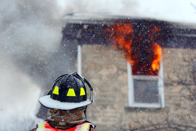 house fire in winter during holidays
