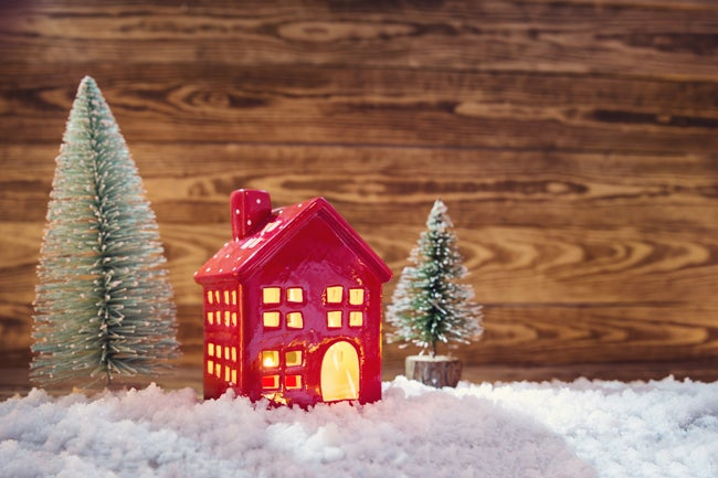 miniature christmas house and trees