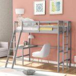 最好的孩子阁楼床配有办公桌选择:哈珀和明亮的设计双床阁楼床与桌子