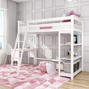 最好的孩子阁楼床配有办公桌选择:Max&Lily实木双床高阁楼床