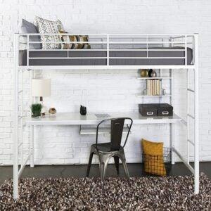 The Best Kids Loft Bed With Desk Option: Walker Edison Modern Metal Pipe Twin over Workstation