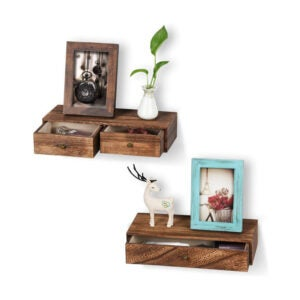 The Best Nightstand Option: Emfogo Floating Shelf with Drawer Rustic Wall Shelf
