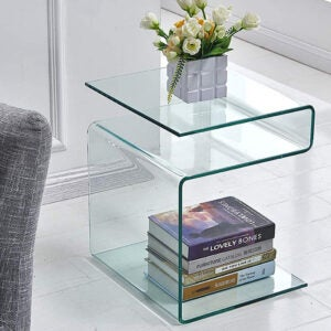 The Best Nightstand Option: FENGHUA S-Shaped Glass Bedside Nightstand Table