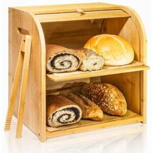 The Best Bread Box Option: Finew 2-Layer Rolltop Bread Box