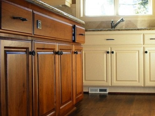 painted and stained kitchen cabinets