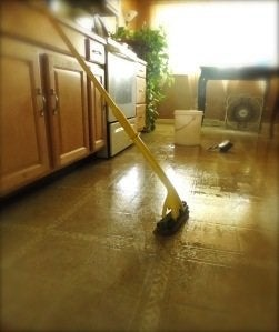 Mopping Vinyl Floor With Mop And Soapy Water