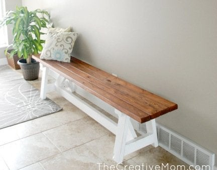 Diy bench in entryway