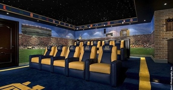 Football themed home theater
