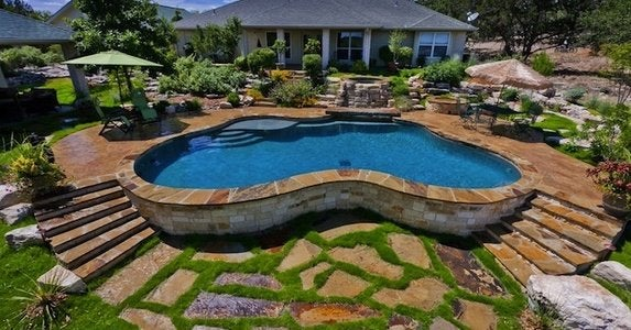 Classic Garden Swimming Pool With Stone Pool Deck Design Ideas 1 A