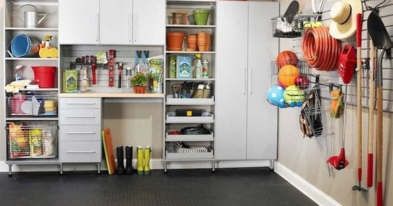 Mesmerizing multifunctional garage storage plus racks on corner and dark floor 1