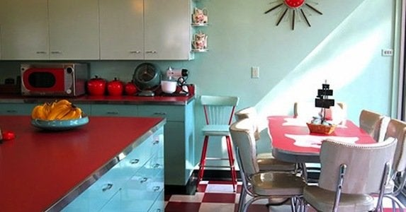 Red and white checkerboard floor in retro kitchen 1