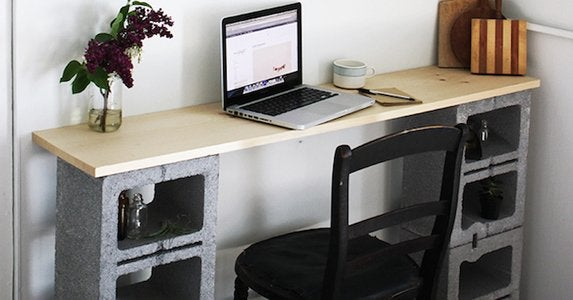 Cinder block desk