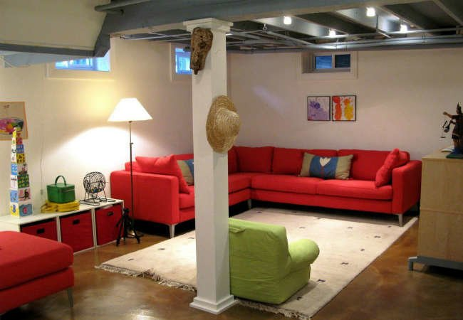 Unfinished basement ideas decor