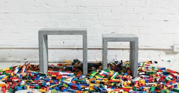 Concrete nesting tables made in legos