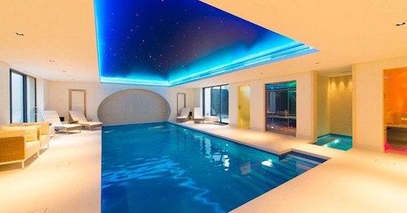 Modern swimming pool and hot tub