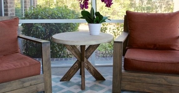 Diy x brace concrete side table
