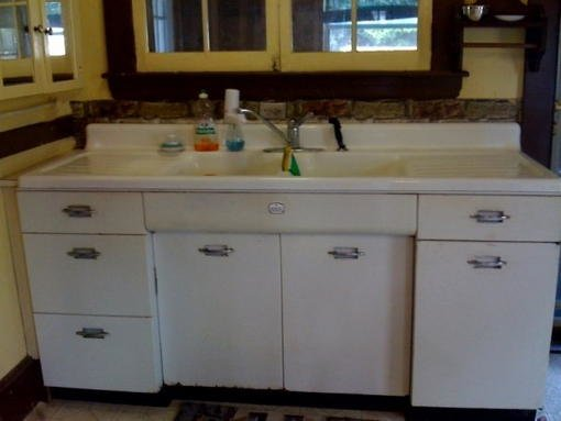 Geneva cabinets with sink forum bob vila for Antique white kitchen cabinets for sale
