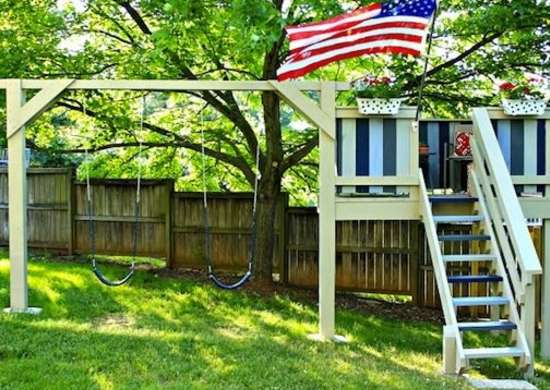 Swingset playhouse diy playhouse 8 inventive ideas for Diy clubhouse